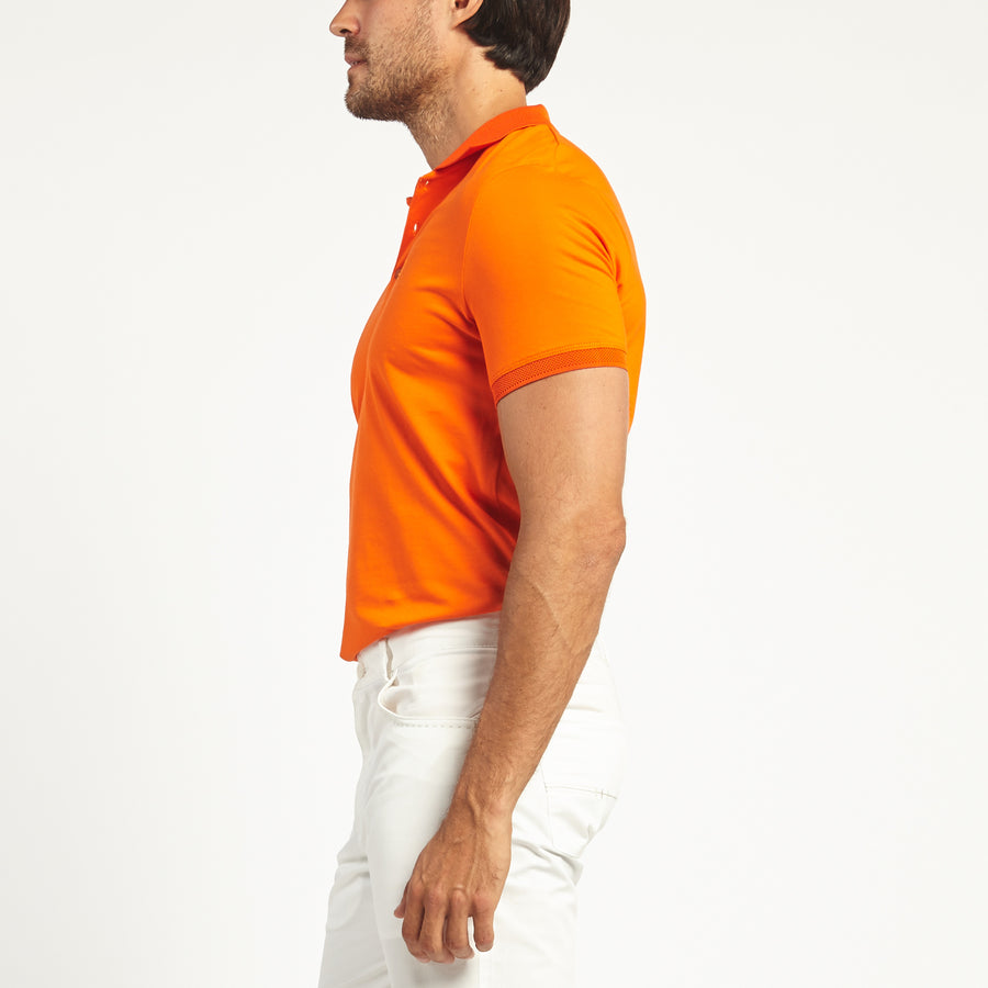 SHORT SLEEVE ORANGE KNIT COTTON POLO