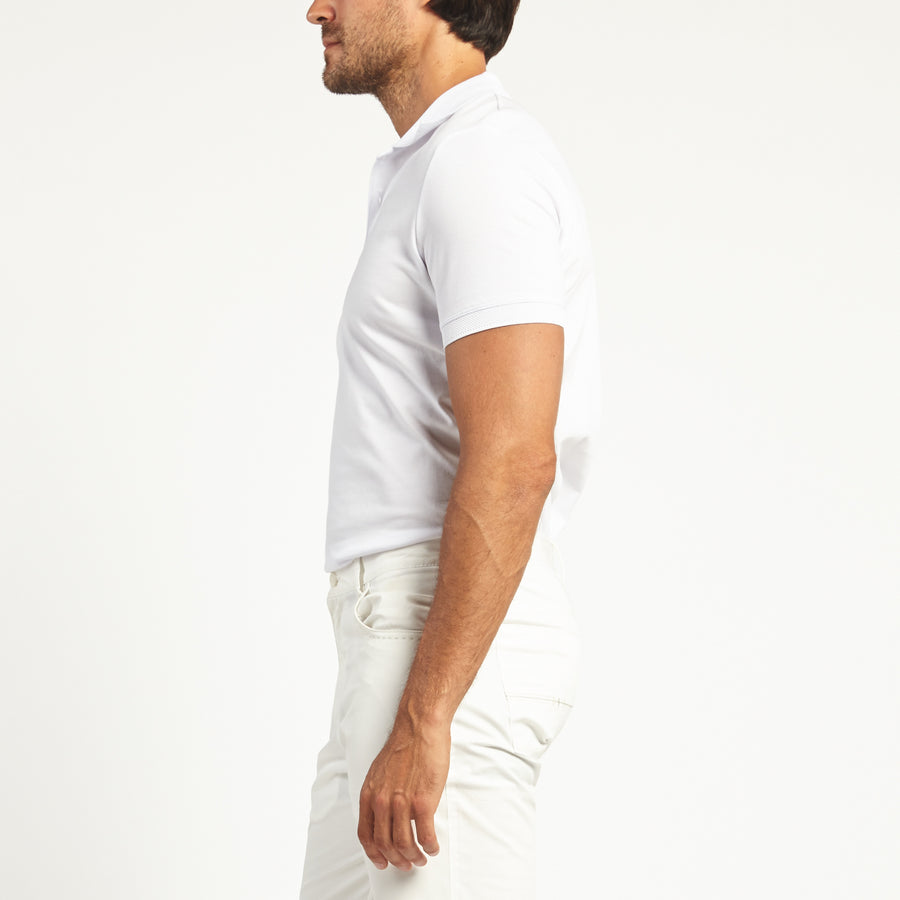 SHORT SLEEVE WHITE KNIT COTTON POLO