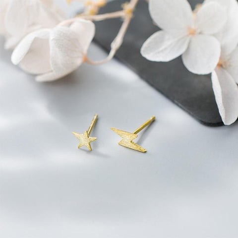 Asymmetrical Earrings - Lightning Ear Studs - Sterling Silver Tiny Star Studs - Gold Plated Sterling Silver Studs - Golden Lightning Earrings - Harry Potter Fan Gift - Golden Star Studs - Star Earrings Gold Lux & Rose