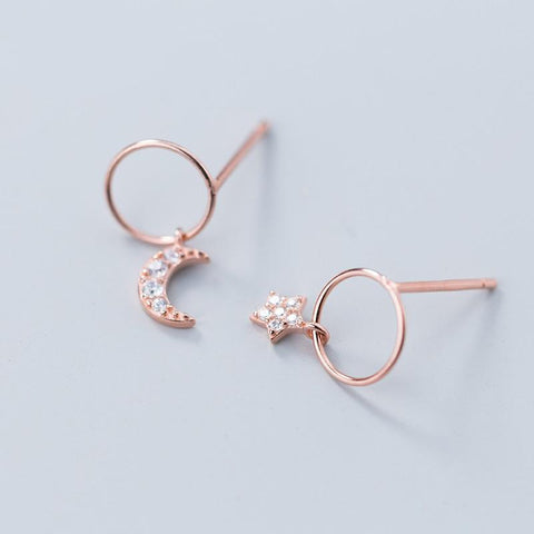Asymmetrical Earrings - Sterling Silver Crescent Moon Stud Earrings - Rose Gold Plated Tiny Star Ear Studs - Tiny Moon & Star Hoop Earrings - Tiny Rose Gold Plated Sterling Silver Hoop Earrings Lux & Rose 1 Pair Rose