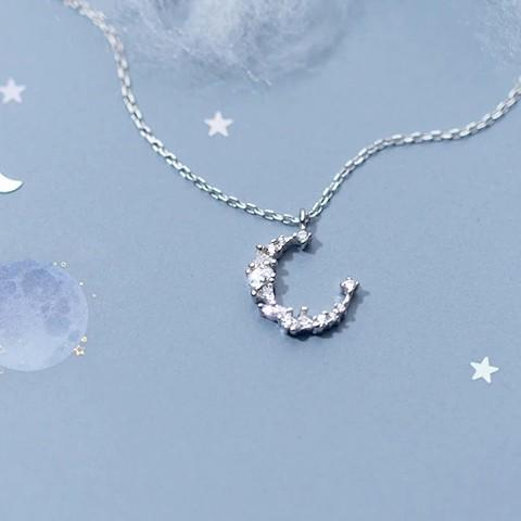 BESTSELLER - Stering Silver Crescent Moon Necklace - Crystal Moon Pendant Necklace - Bohemian Jewelry Lux & Rose