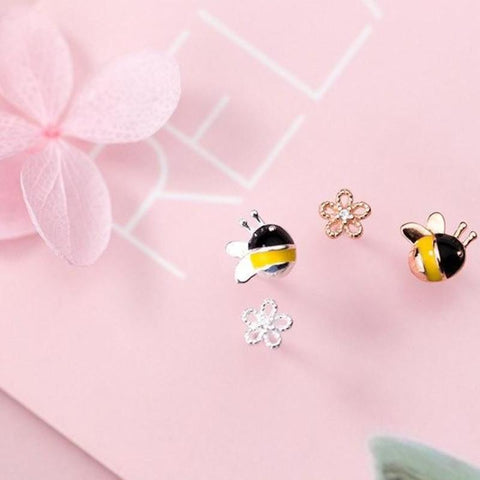 Sterling Silver Bee Flowers Stud Earrings - 925 Stud Earrings - 925 Real Silver Stud Earrings - Bee Flowers Earrings - Bee Stud Earrings - Flower Stud Earrings Lux & Rose