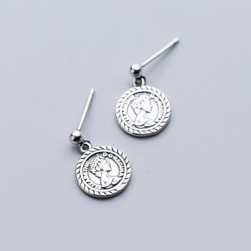 Sterling Silver Coin Portrait Earrings - Ancient Roman Coin Dangle Earrings - 925 Real Silver Earrings Lux & Rose