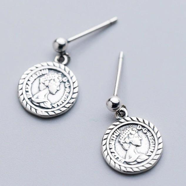 Sterling Silver Coin Portrait Earrings - Ancient Roman Coin Dangle Earrings - 925 Real Silver Earrings Lux & Rose Default Title