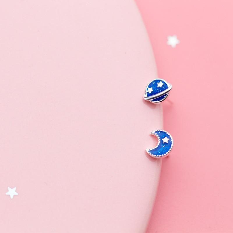 Sterling Silver Cute Asymmetric Moon Star Small Stud Earrings - 925 Real Siilver Galaxy Studs - Tiny Universe Earrings Lux & Rose