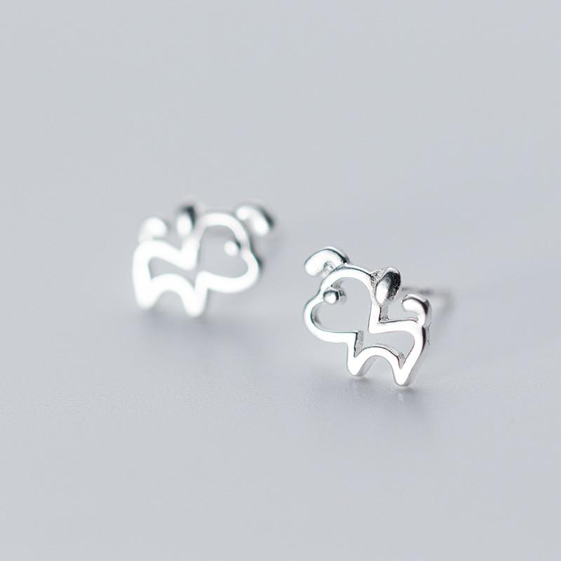 Sterling Silver Cute Tiny Outline Dog Stud Earrings - 925 Real Silver Earrings - Playful Silver Earrings Lux & Rose DS288