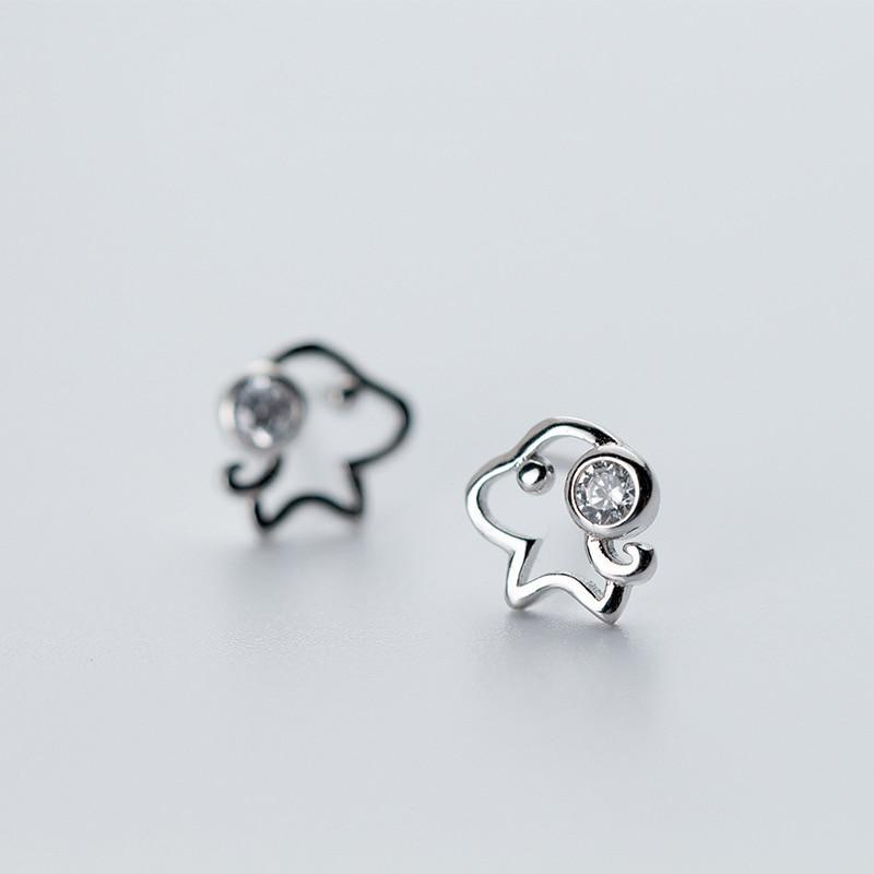Sterling Silver Cute Tiny Outline Dog Stud Earrings - 925 Real Silver Earrings - Playful Silver Earrings Lux & Rose DS540