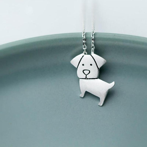 Sterling Silver Dog Pendant Necklace - Cute Puppy Necklace - Real Silver Dog Necklace - Funny Dog Mum Gift Lux & Rose