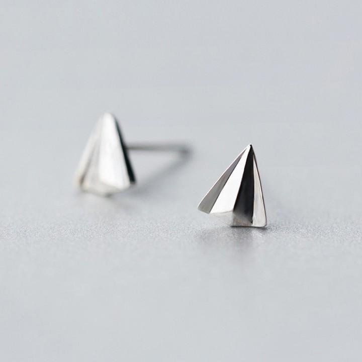 Sterling Silver Paper Airplane Stud Earrings - 925 Stud Earring - 925 Real Silver Earrings - Charming Silver Earrings Lux & Rose Default Title