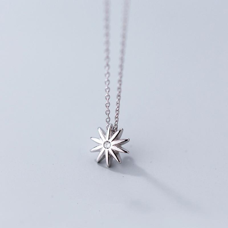 Sterling Silver Sun Light Pendant Necklace - 925 Real Silver Necklace - Classic Silver Necklace Lux & Rose