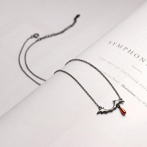 Sterling Silver Vampire Red Drop Necklace - 925 Real Silver Necklace - Classic Silver Necklace Lux & Rose