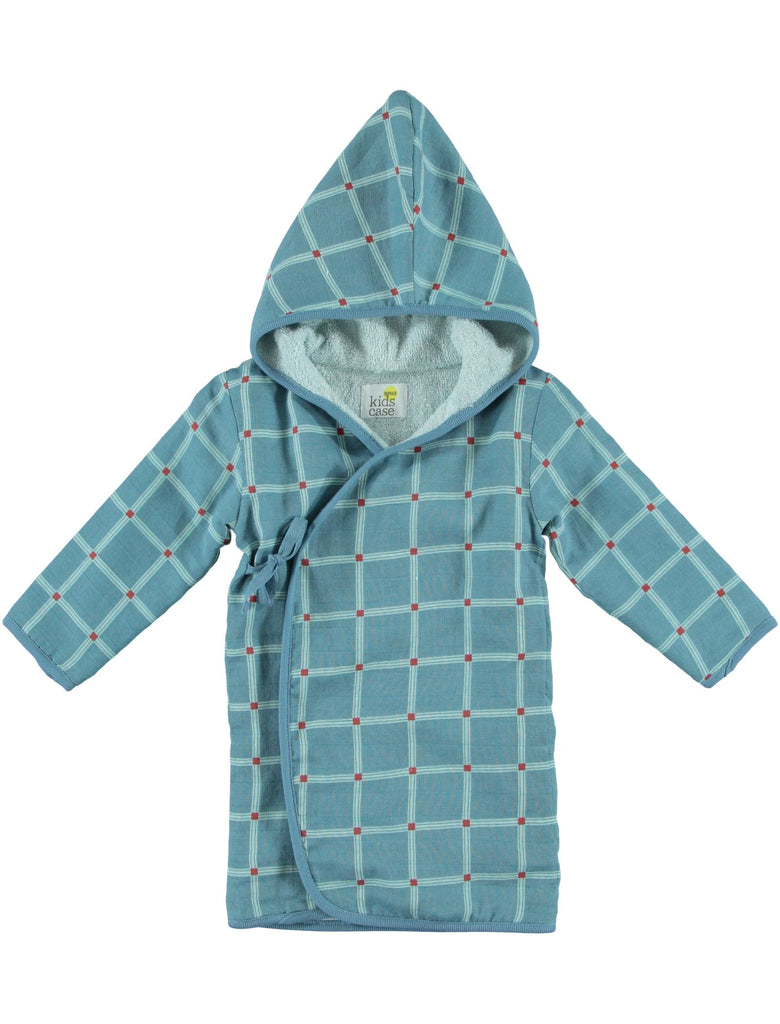Blue Checked Towelling Robe 1-2y & 2-3y