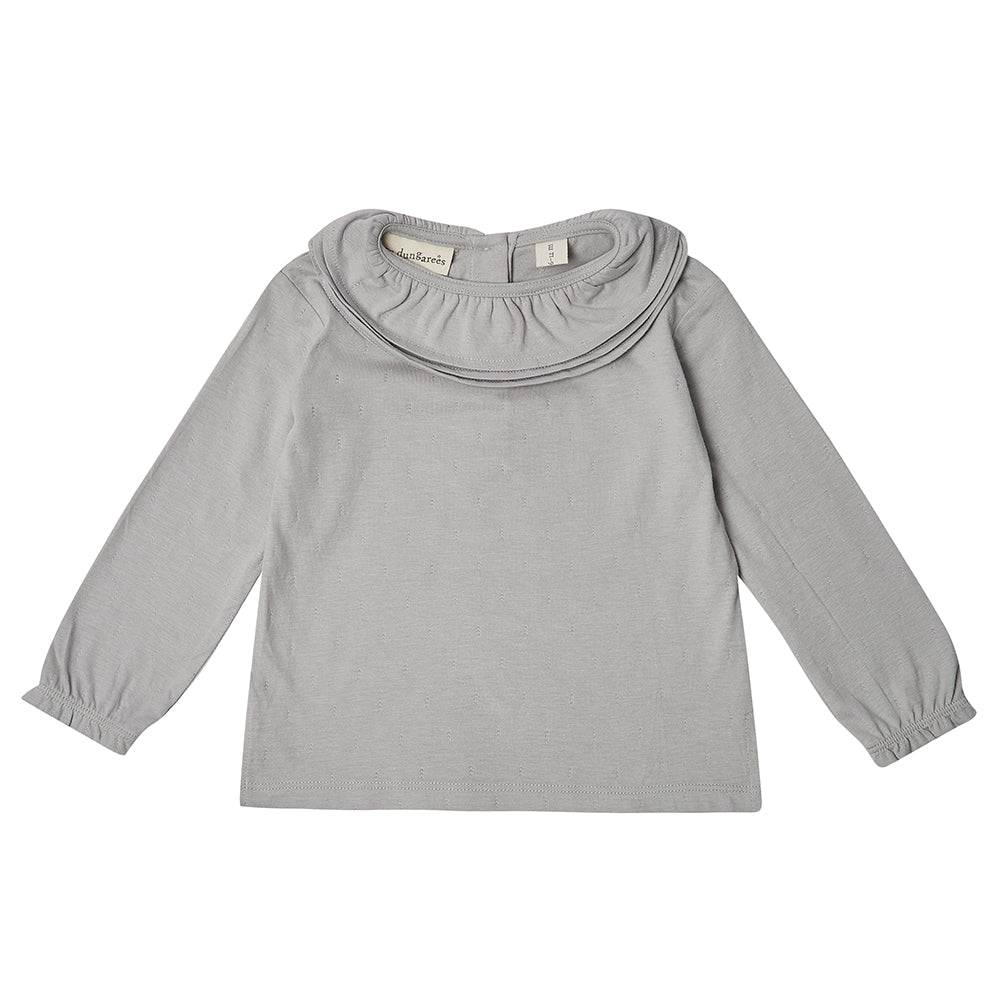 Margaux Ruffle Neck Top - Dove Grey: Dotty Dungarees
