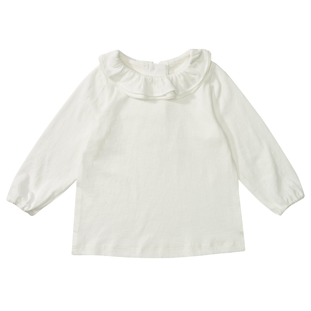 ( 3-6 m ) White Margaux Ruffle Neck Top:  Dotty Dungarees