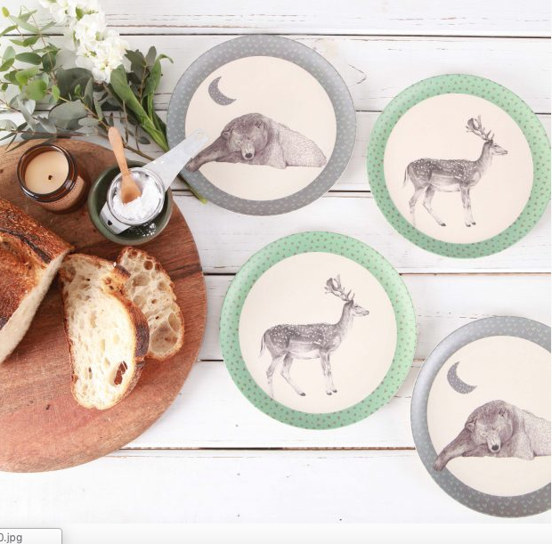 Love Mae - Sleeping Bear & Deer Bamboo Plate Set