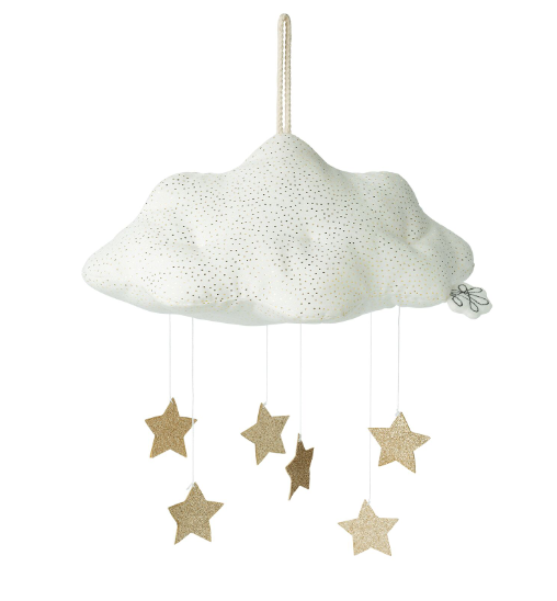 Picca Loulou: White Sparkly Cloud Mobile with Pom-Poms