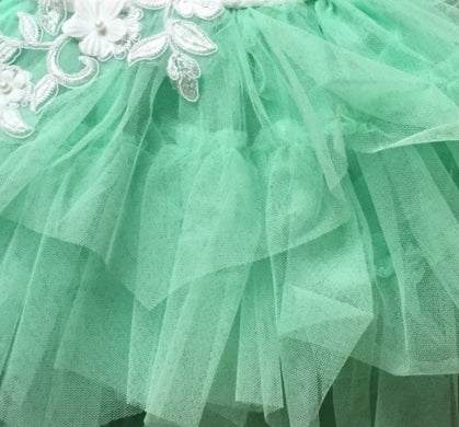 Image of Lace Ruffle Tulle Dress