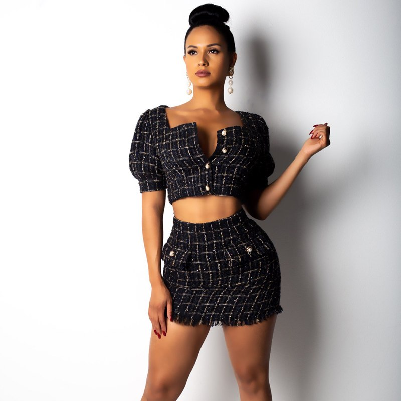 2 Pieces Outfits Set Plaid Tweed Dress Smart Casual Sexy Office Work Dress Crop Top and Mini Skirt Suits
