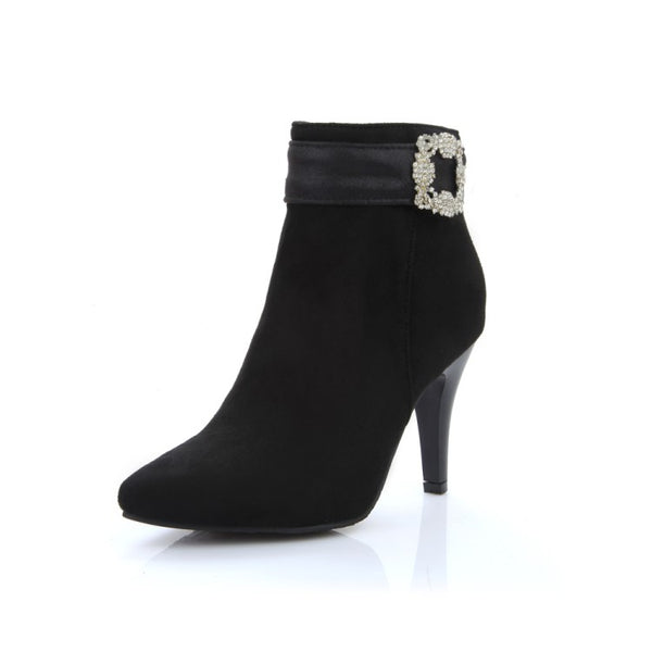 Boots New Pointed Toe Buckle Boots For Women Sexy Ankle Heels