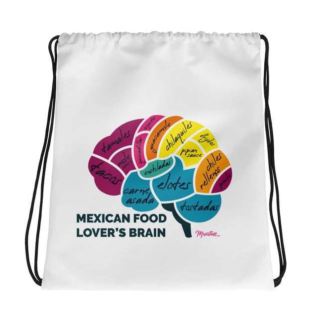 Mexican Food Lover's Brain Drawstring bag