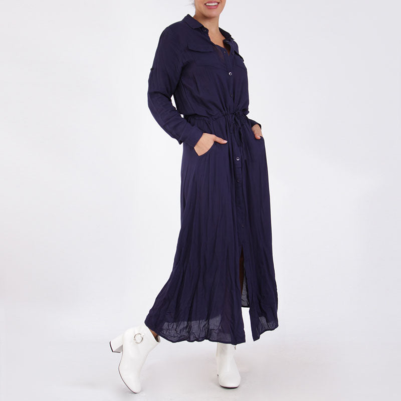 Shirt Maxi Dress Navy
