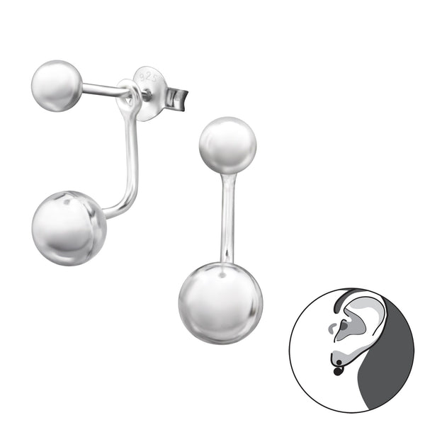 Sterling Silver Double Ball Stud Earring