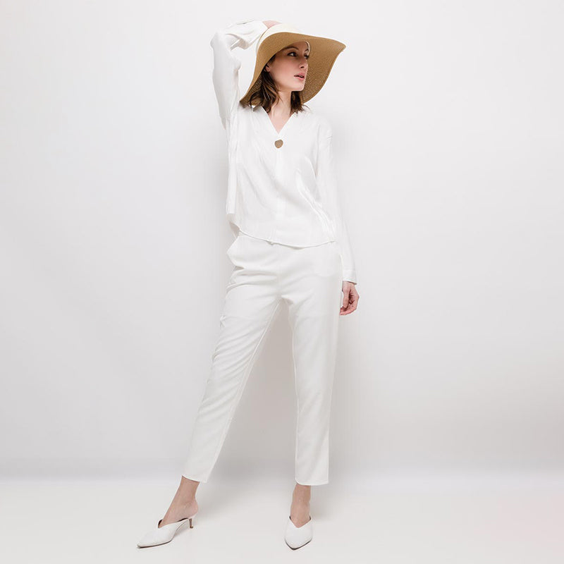 High Waisted Straight Leg Pants White