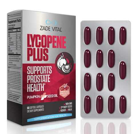 Zade Vital Lycopene Plus, Enriched with 100% Cold Press Pumpkin Seed Oil to Support Prostate Health, Dietary Supplement, 60 Softgel Capsules, Non GMO, Kosher, GMP, 2 Months Supply, Free Gift