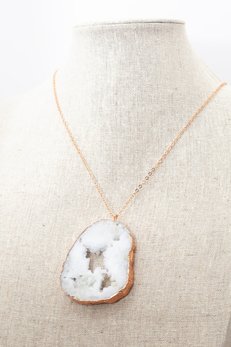 Rose Gold Necklace White Druzy Slice
