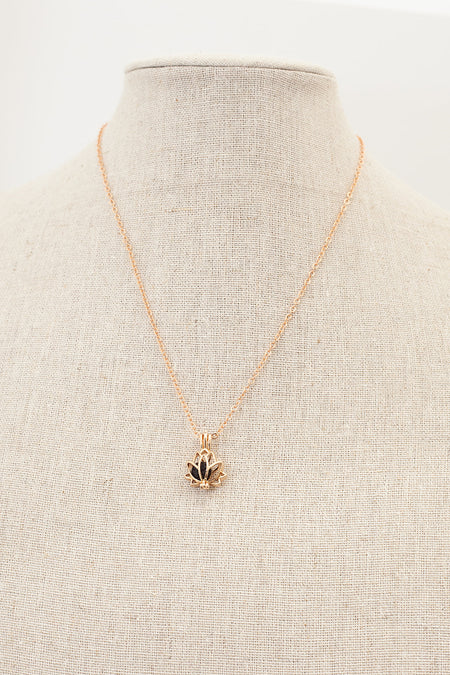Lotus Diffuser Necklace- Rose Gold