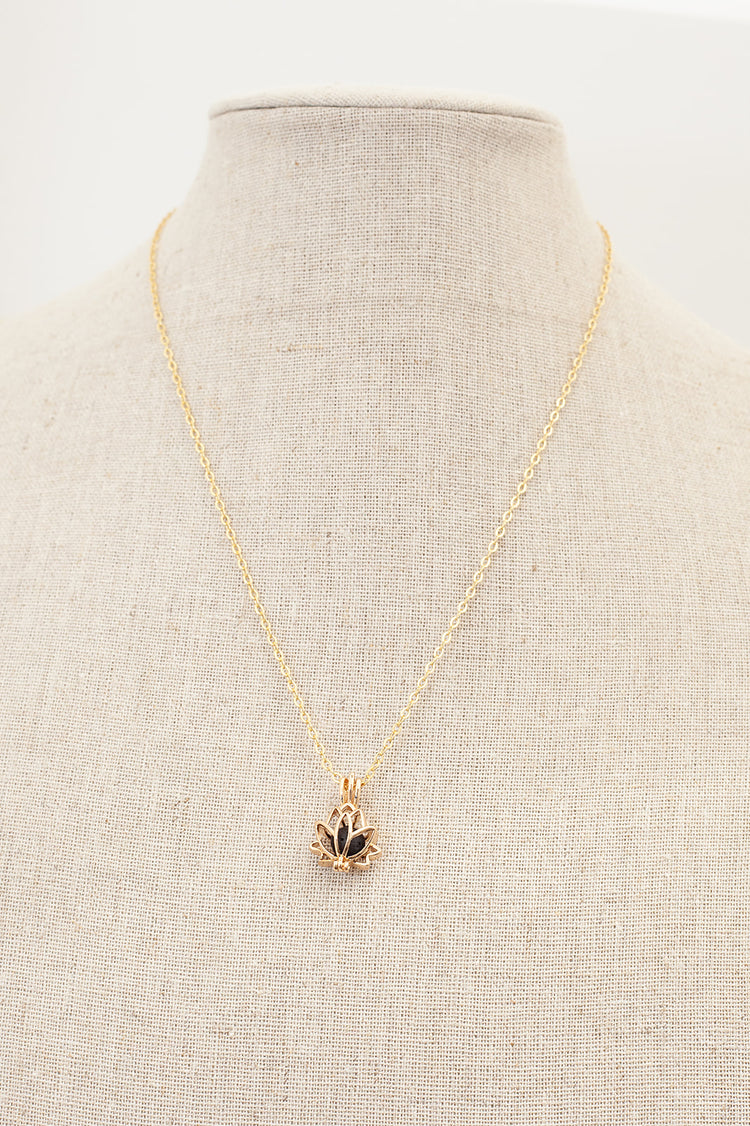 Lotus Diffuser Necklace- Gold