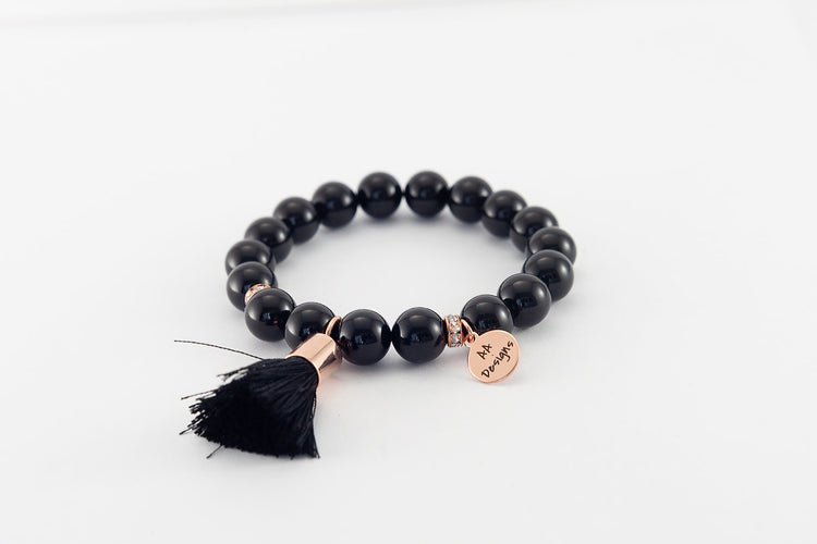 Onyx Tassle - Rose Gold