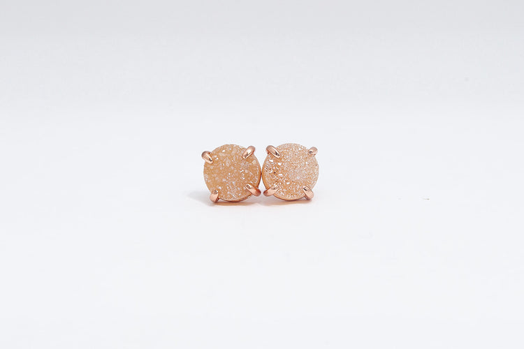 Claw Stud Champagne Agate- Rose Gold