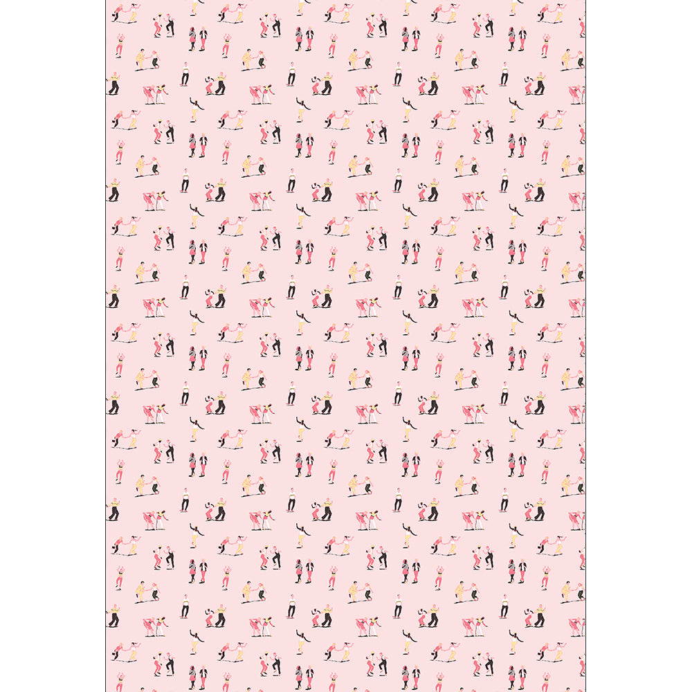 SWING DANCERS | pink-yellow palette - wrapping paper