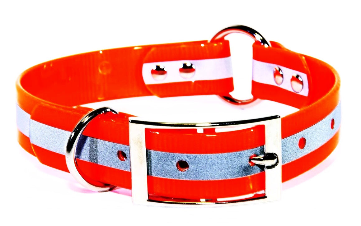 1 Inch ProDog Brand Reflective Orange Center Ring Collar - Customize your nameplate!