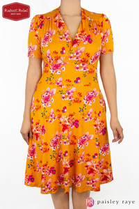 Paisley Raye Dahlia Dress Orange Floral (2X), by Radiant Rebel Boutique, shop now at http://radiantrebelboutique.com