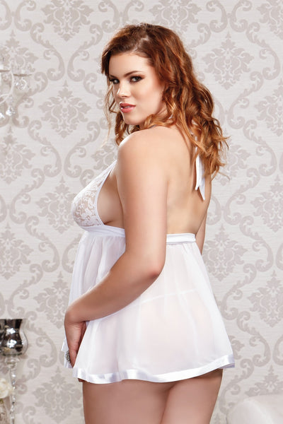 side view of plus size model wearing dress