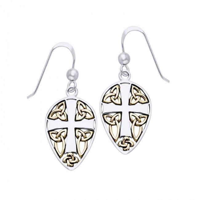 Celtic Knot Cross Shield Gold Accent Silver Earrings MER471