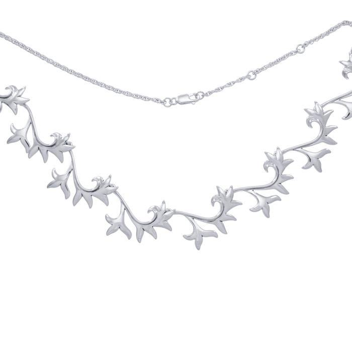 Blossoming Flower Silver Necklace TN029
