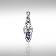 Celtic with Marquise Gemstone Silver Pendant