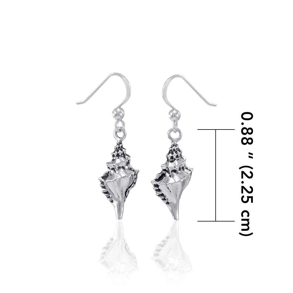 Conch Shell Silver Earrings