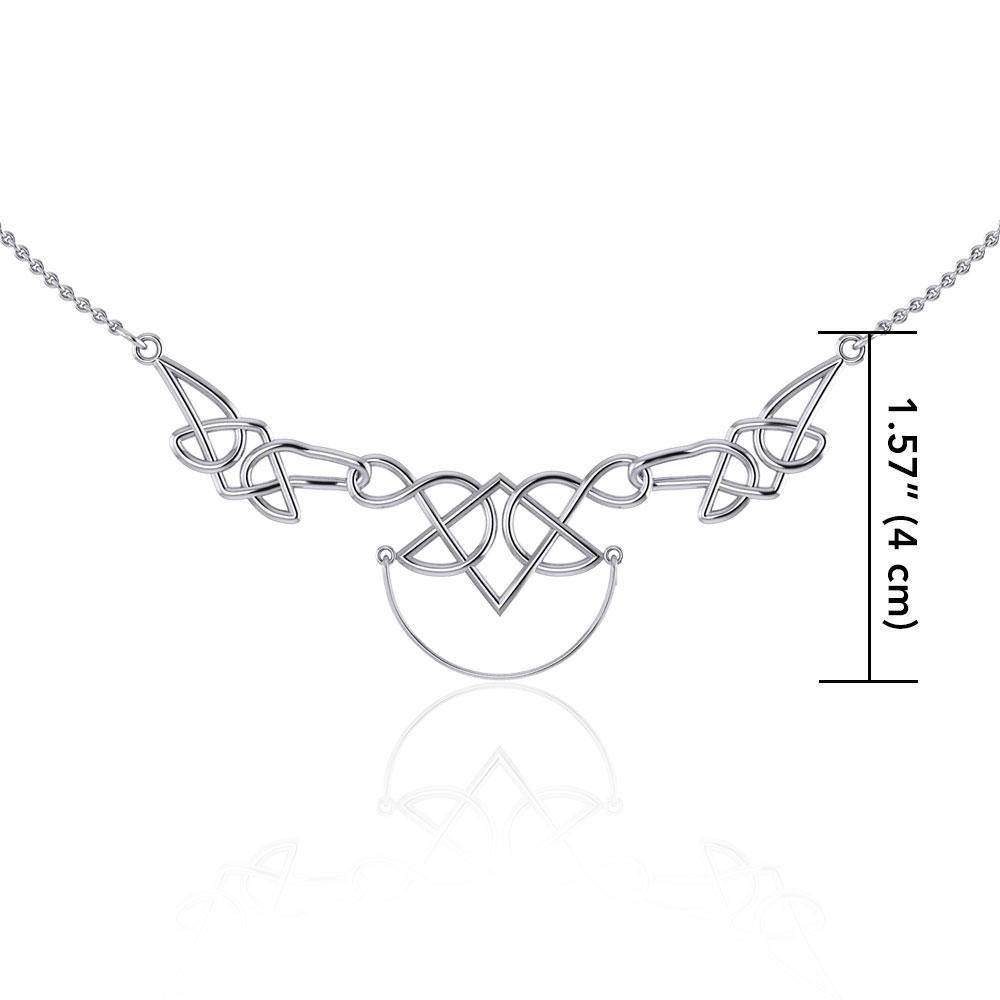 Celtic Knotwork Silver Necklace with Charm Holder