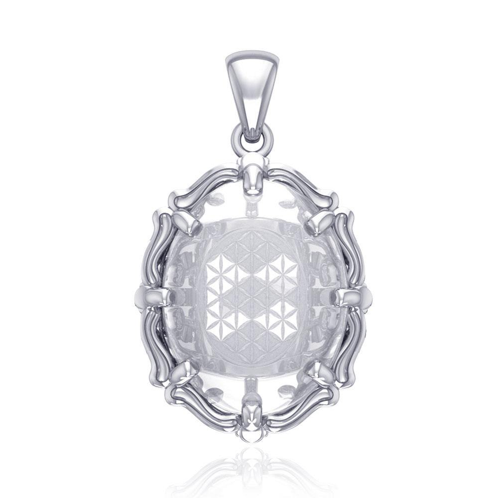 Flower of Life Sterling Silver Pendant with Clear Quartz