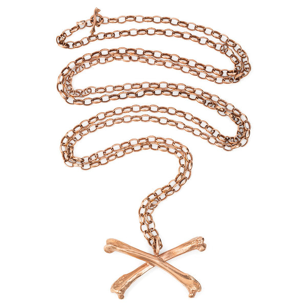 Rose Gold Magpie Crossbones Long Necklace