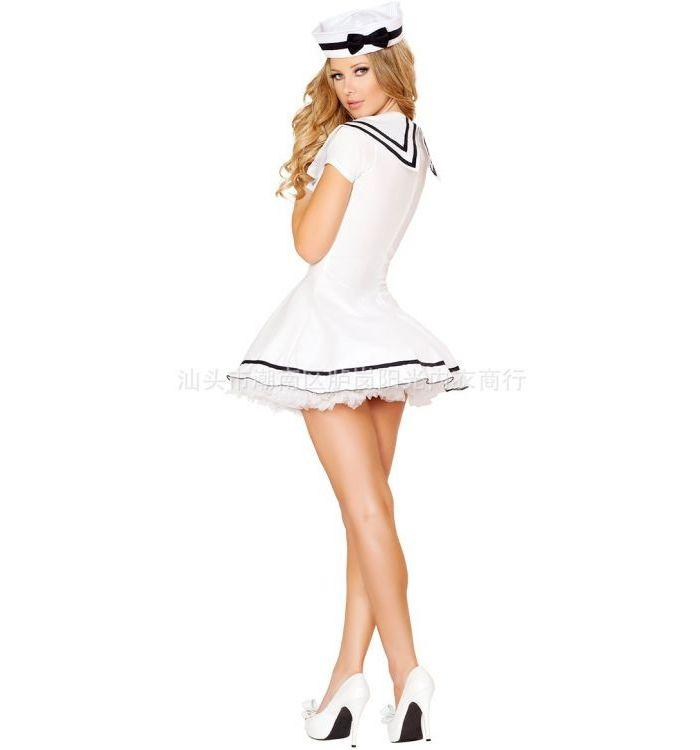 White pretty cute navy sailor suit temptation plus size dress