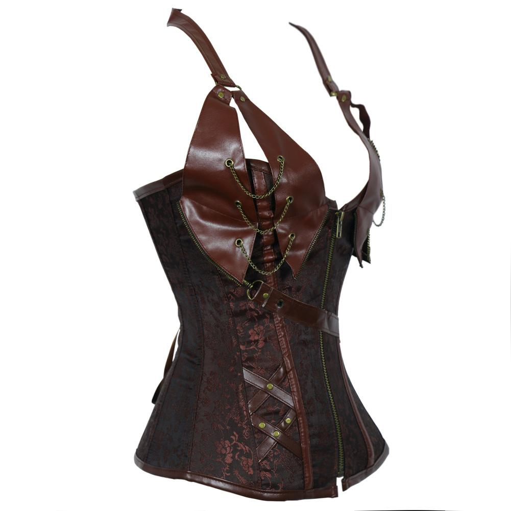 Vintage padded shoulder strap hanging neck brown Gothic wind corset