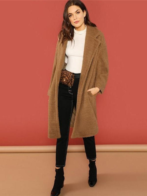 Maeve Brown Single Button Teddy Coat