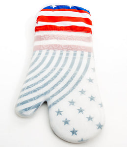 Heat Resistant Silicone Oven Glove - BBQ Mitt White & Red - Blue Star