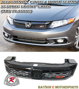 2012 Honda Civic 4dr Sedan Si Style Front Grille (ABS)
