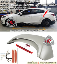 Load image into Gallery viewer, 14-18 Mazda 3 5dr Hatch MS-Style Rear Roof Spoiler Wing w/ Red LED (ABS Plastic)